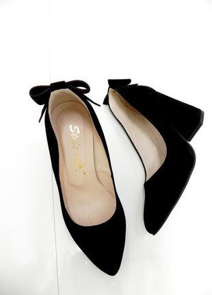 Стильные туфли осень-весна .замша. удобный каблук. 39