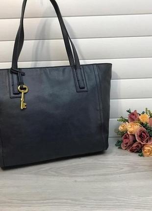 Кожаная сумка шоппер  из натуральной кожи американского бренда fossil