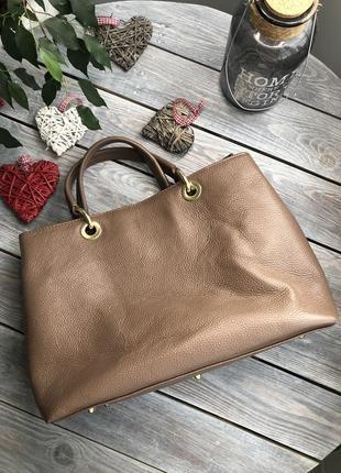 Vera pelle italy кожаная сумка на коротких ручках