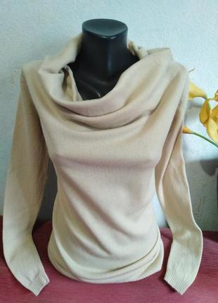 Премиум-бренд, twinset, натуральная шерсть, бежевый свитер, джемпер, интересный крой