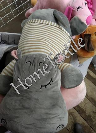Шикарный плед игрушка бегемот большой