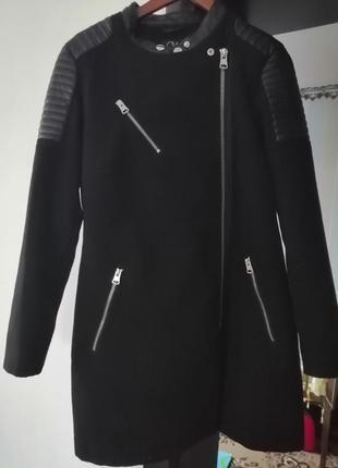 Кашемировое пальто со вставками кожзама, косуха