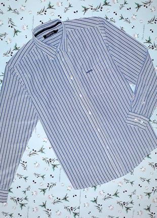 🎁1+1=3 фирменная белая рубашка в клетку с длинным рукавом hippo, размер 46 - 48
