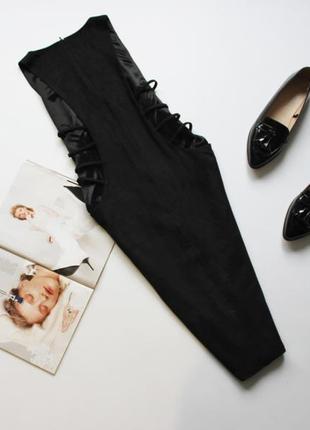 Красивое черное платье эко замш по фигуре 12л