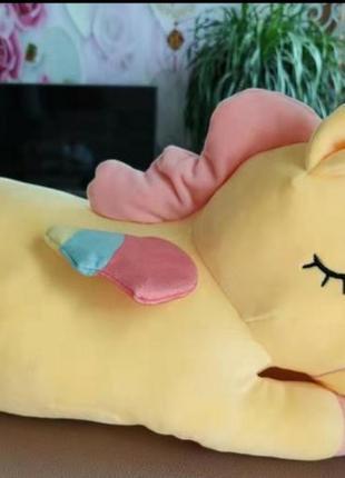 Мягкая игрушка плед подушка единорожка 3 в 1