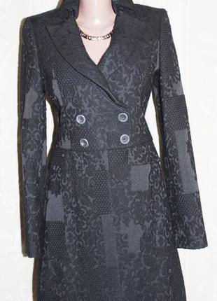 Стильное облегчённое пальто сюртук чёрный benetton 42/44р
