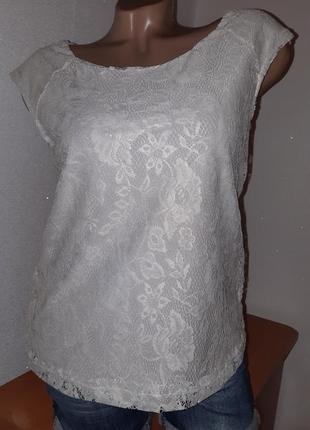 Кружевная двухслофная футболка/топ  с золотистым напылением