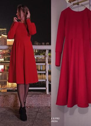 Красное миди платье!