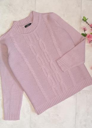 1+1=3 теплый плотный сиреневый свободный свитер оверсайз bm под горло, размер 48 - 50