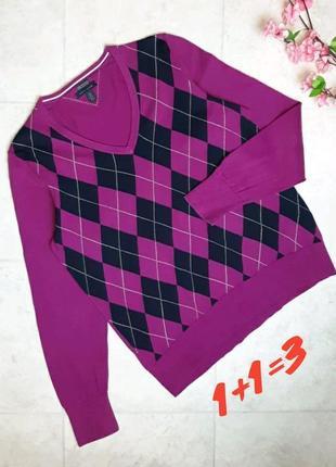 1+1=3 фирменный яркий розовый свитер в ромбик tommy hilfiger, размер 50 - 52