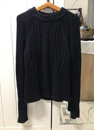 Вязаный хлопковый свитер синий