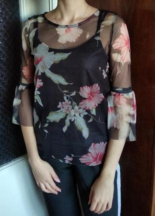 Блузка блуза кофточка черная прозрачная полупрозрачная цветочный принт органза