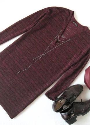 #розвантажуюсь бордовый удлиненный свитер bershka с разрезами по бокам и шнуровкой