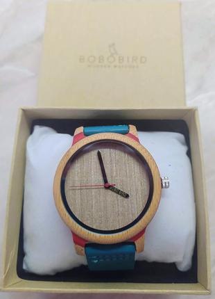 Новые стильные синие часы bobo bird (унисекс)