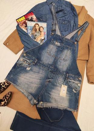 Комбинезон шорты новый ромпер джинсовый голубой синий большой батал оверсайз denim co