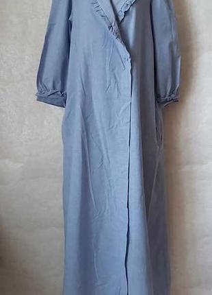 Новый халат на запах со 100% хлопка в  сине-голубом цвете с карманами, размер л-хл