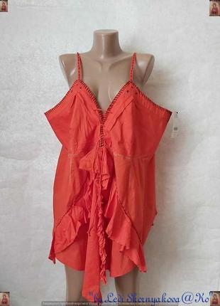Фирменная next мега просторная майка/блуза со 100% хлопка в сочном красном, размер 7хл