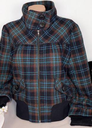 Демисезонное пальто полупальто куртка на молнии с карманами в клетку denim co шерсть