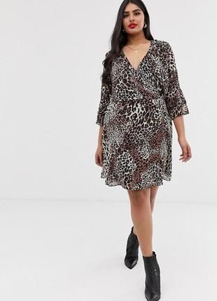 Шифоновое платье с леопардовым принтом asos, запахом и оборками на рукавах батал