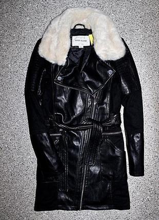 Кожаное пальто косуха с мехом одежда 10-11-12 лет