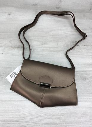 Женский клатч поясная сумка бронзовая