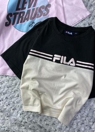 Комбинированная укороченная хлопковая футболка fila