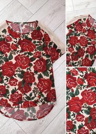 Блуза в красных розах от new look