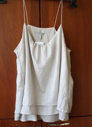 Топ блузка на тонких бретельках h&m бежевый размер 38 \ s