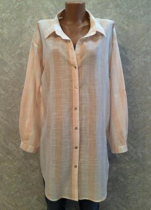 Рубашка блуза оверсайз в полоску размер 12-14 new look