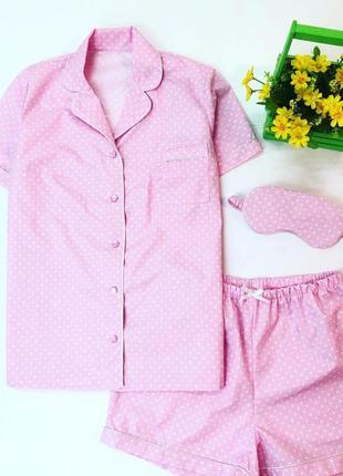 Розовая хлопковая женская пижама в горошек. все размеры