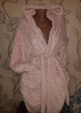 Красивый лохматый розовый махровый халат м