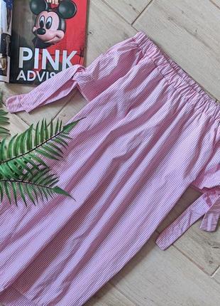 Красивая удлиненная блуза блузка туника с открытыми плечами в полоску