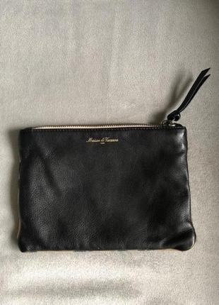 Новый чёрный клатч сумка кожа французского бренда (оригинал) prada, gucci, dior, chanel
