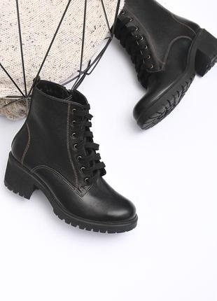 Кожаные женские черные демисезонные ботинки на шнуровке с молнией натуральная кожа