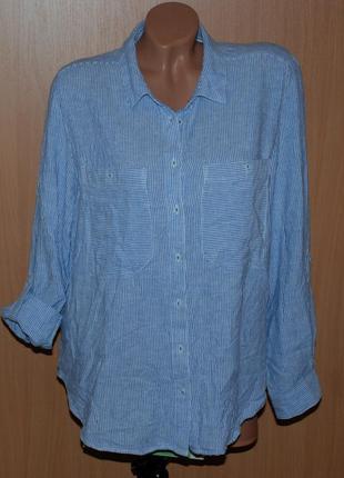 Рубашка бренда george / 55%лен / регулируемый рукав/