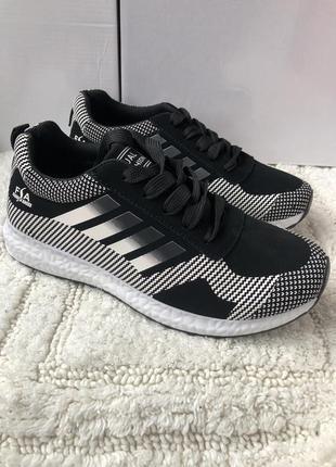 Кроссовки новые черно белые последний размер 39 - 24.5 см