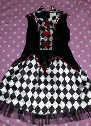 Карнавальное платье карточной королевы 8-10 лет