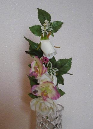 Искусственные цветы букет орхидей с розой