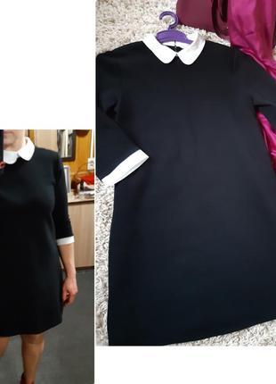 Оригинальное маленькое чёрное платье  с белым воротником,  clockhouse, p. m-l