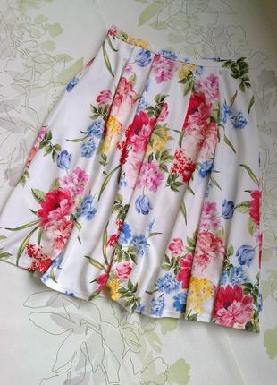 Цветочная юбка   миди  из неопрена цвета слоновой кости