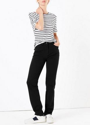 Черные прямые джинсы высокая посадка marks&spencer