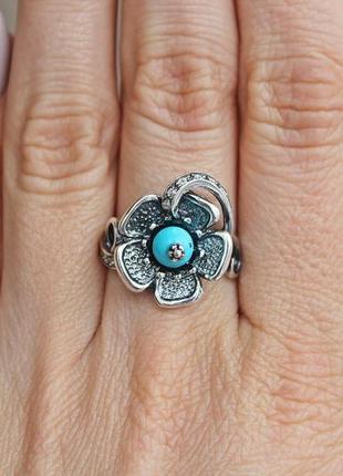 Серебряное кольцо анемона р.17,5