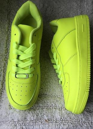 Жёлтые неоновые кроссовки женские новые на 25 см