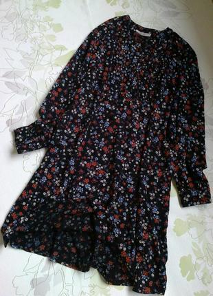 Платье\платье-рубашка  в мелкий цветочек.