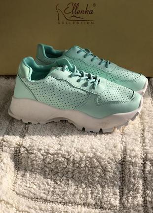 Мятные кроссовки на платформе новые