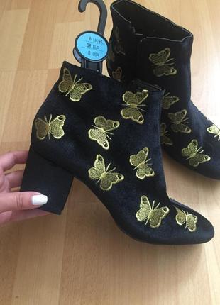 Красивые бархатные ветровые сапоги ботинки zara