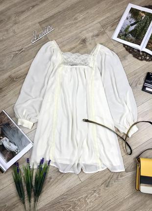 Шикарная невесомая удлиненная блуза с элементами кружева цвета шампань 😍
