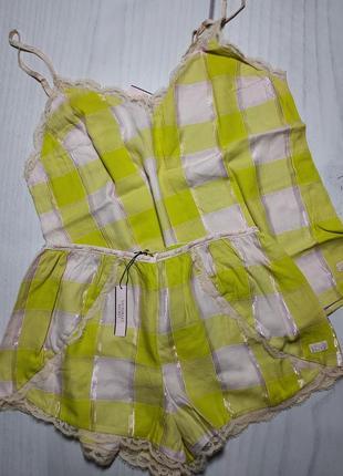 Пижамка из коллекции flannel sleep by victoria's secret - yellow shimmery plaid
