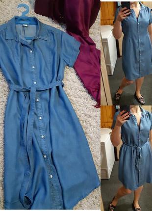 Симпатичное комфортное легкое джинсовое платье  рубашка под пояс, p.m-l