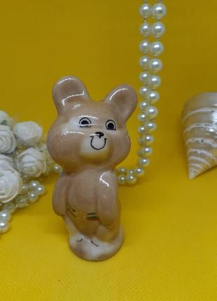 Олимпийский мишка, редкая фарфоровая статуэтка дружковского фз